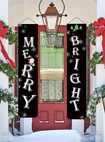 NIGHT-GRING Christmas Porch Sign, Merry Bright Porch Sign Hanging Home Indoor Outdoor Porch Wall Christmas Decoration Xmas Decor Banners ()