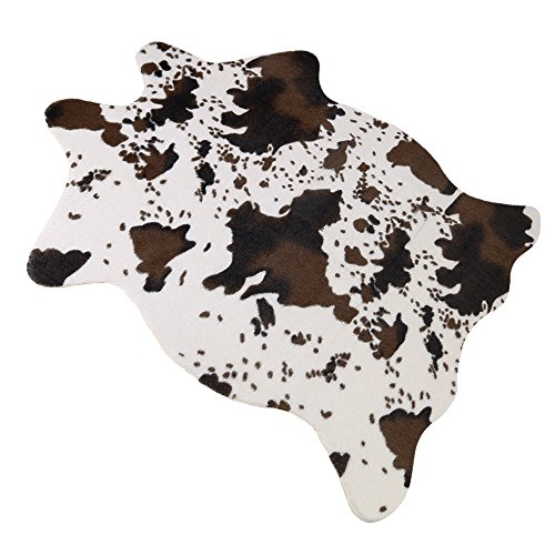 SEJ Cow Print Rug 3.6x2.5 Feet Faux Cow Hide Rug Animal Printed Carpet For  Home Polyester Top Natural Latex Backing (cow01)