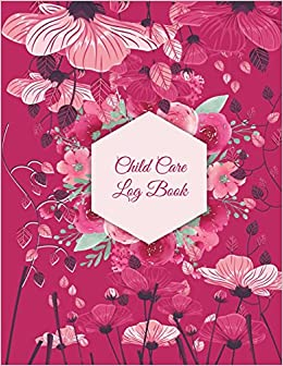 child care log book pink color floral nanny journal kids record