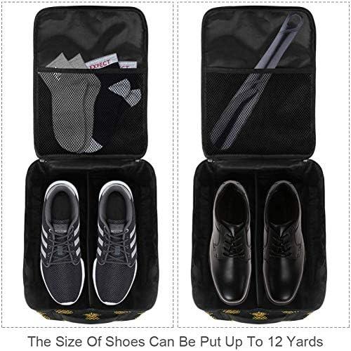 MYSTAGE シューズバッグ 靴箱 シューズケース シューズ袋 旅行収納ポーチ 二層式 靴入れ 小物収納 収納ケース アウドドア 出張 旅行 黒 金 パイナップル フルーツ