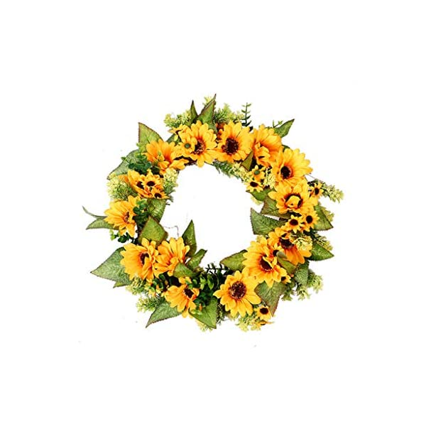Mikilon Artificial Sunflower Summer Wreath – 18 Inch Decorative Fake Flower Wreath with Yellow Sunflower and Green Leaves for Front Door Indoor Wall Décor (Yellow)