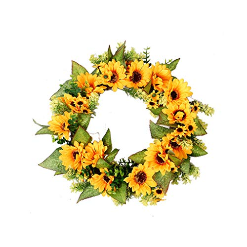 ❤️Jonerytime❤️Simulation Sunflower Wreath Decorative Sunflower Christmas Door Hanging Yellow