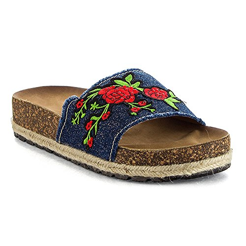 llic Embroidered Patch Slip On Slippers Espadrille Cork FootbedSlides Roses Flat Sandals Blue/Denim 7 (Espadrille Slides Sandals Shoes)
