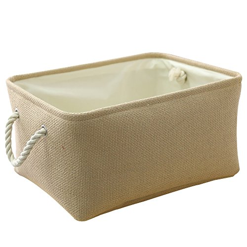 TheWarmHome Woven Storage Basket for Toy Storage,Wicker Basket for Shelves,Dog Toy Basket,Fabric Basket for Gifts Empty,Canvas Storage Lined Baby Basket,Rectangular Small Basket for Nursery ()