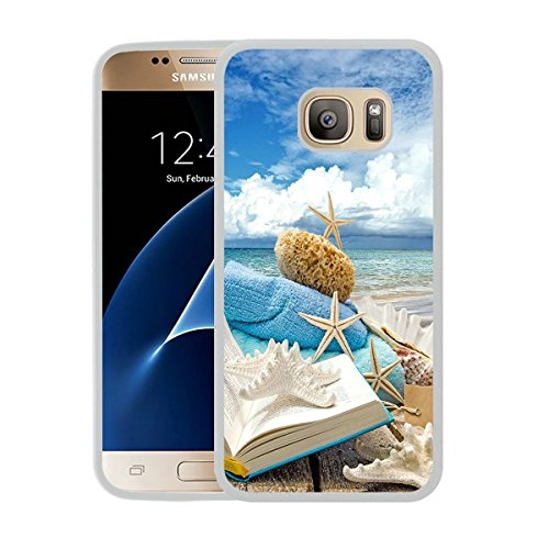 Galaxy S7 Case,S7 Case,Summer Beach Book Seashells Sea Stars White Rubber Case For Samsung Galaxy S7