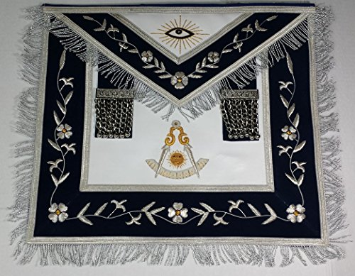 (Zest4Canada Hand Embroidered Past Master Navy Blue Masonic Apron with Silver & Gold Bullion Wire &)