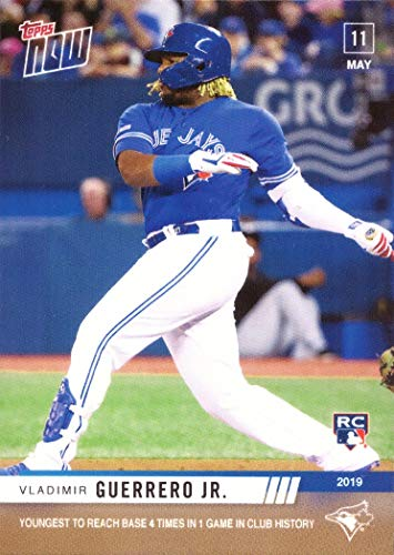 - 2019 Topps Now Baseball #216 Vladimir Guerrero Jr. Rookie Card - Youngest in Blue Jays History to Reach Base Four Times in a Game - Only 1,373 made!