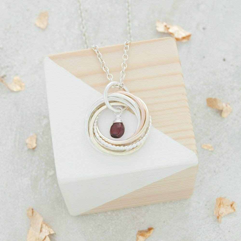 7 Rings for 7 Decades Birthstone 70th Birthday Necklace