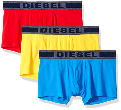 (Diesel Men's UMBX-Shawnthreepack Touch of Denim Boxer 3pack, Red/Blue/Yellow, M)