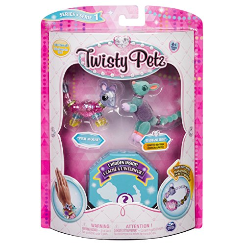 Twisty Petz - 3-Pack - Pixie Mouse, Radiant Roo and Surprise Collectible Bracelet Set for Kids