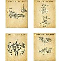Batman Patent Wall Art Prints - set of Four (8x10) Unframed - wall art decor for batman lovers