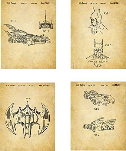 Batman Patent Wall Art Prints - set of Four (8x10) Unframed - wall art decor for batman lovers ()