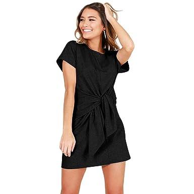 7a06ca304f70 cokil Women Mini Dress A Line High Waist Lace Up Solid Mini Casual Dress  Black