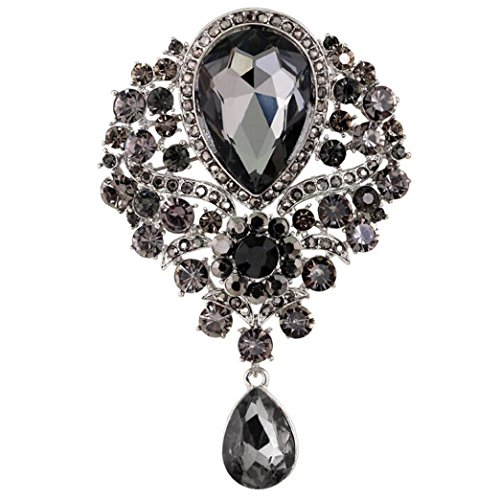 Botrong Large Fashion Drop Pendant Wedding Lady Rhinestone Brooch (Gray)