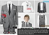 Black n Bianco Boys Signature Slim Suit, Dark Gray
