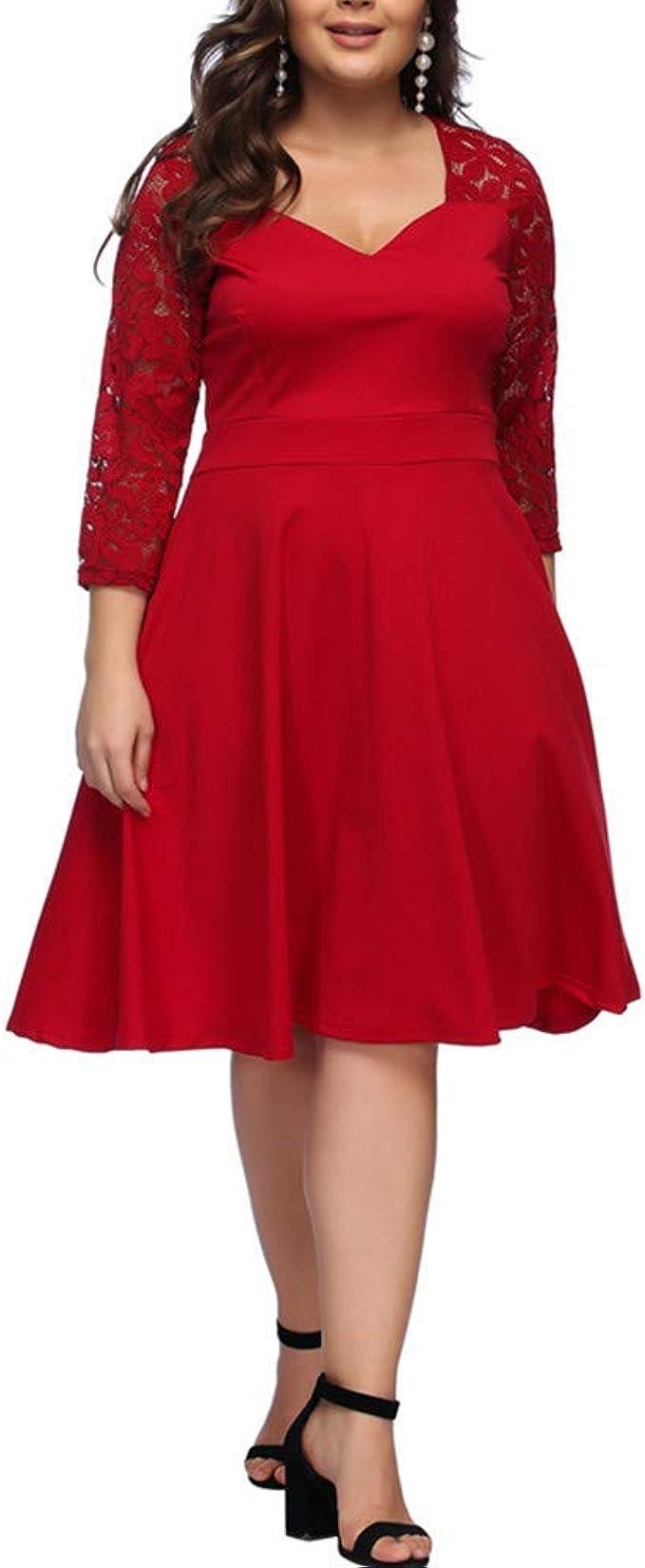 Lover-Beauty Damen Maxikleid Große Größen Kleid V-Ausschnitt