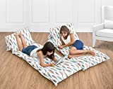 Sweet Jojo Designs Multicolored Feather Print Kids Teen Floor Pillow Case Lounger Cushion Cover (Pillows Not Included)