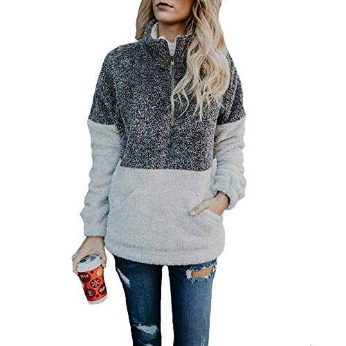 Women Long Sleeve Zip Sherpa Pullover, Sherpa Jacket Fuzzy Pullover Sherpa Fleece Zip Pullover Sweaters Outwear Jacket (Grey,US S=M)