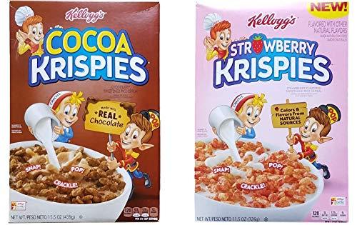 (Cocoa Krispies (15.5 Oz) & Strawberry Krispies (11.5 Oz) Variety Bundle of 2 Breakfast Cereals)