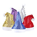 5 Pack Sequin Christmas Hats, Santa Claus Bling Paillette Xmas Caps/Holiday Party Glittering Sparkle Santa Costume for Kids Adult