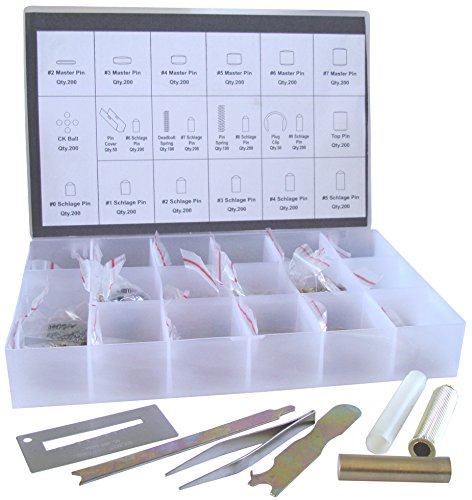 Rekey Kit SC1/SC4 Compatible Re-Key Rekeying Set Locksmith Tool Box Bottom & Master Pins with Each 200 Piece and 7 Tools (Kit Lock Rekeying)
