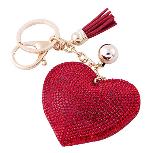 Soleebee Glitter Love Heart Keychain Premium SS6 Crystal Tassel Key Chain Leather Bag Charm for Women Girls (Red)