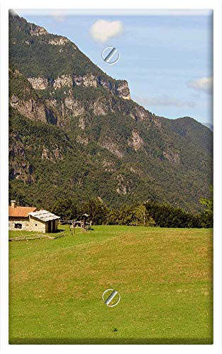 Single-Gang Blank Wall Plate Cover - Alm Prato Mountain Italy House Green Tree Grass