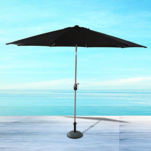 Ulax furniture 11 Ft Patio Outdoor Market Full Aluminum Umbrella with Push Button Tilt and Crank (Classic Black)