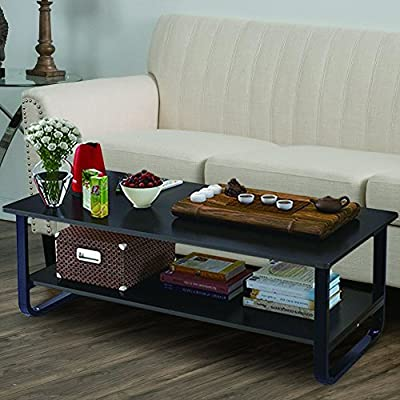 "Mordern Large Coffee Table with Lower Storage Shelf for Living Room, 48"" x 24"""