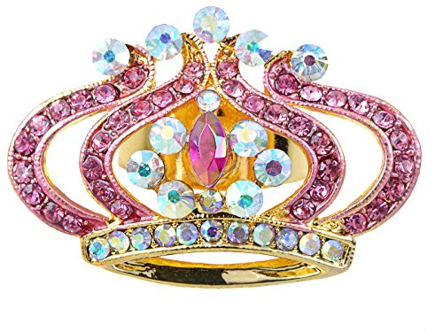 Alilang Princess Pink Rose Lady AB Czech Crystal Rhinestone Crown King Adjustable (Rhinestone Crown Adjustable Ring)