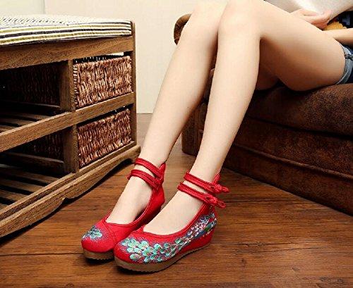 Lazutom - Sandalias de vestir de Lona para mujer Red