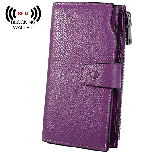 YALUXE Women's Wax Genuine Leather RFID Blocking Large Capacity Luxury Clutch Wallet Card Holder Organizer Ladies Purse Wallets for Women Brown Purple