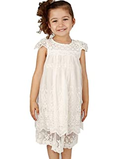 55f87053b2 Bow Dream Off White Ivory White Vintage Rustic Baptism Lace Flower Girl's  Dress