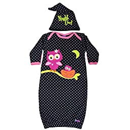 Sozo Baby Girls\' Night Owl Gown and Cap Set, Black/Pink, 0-6 Months