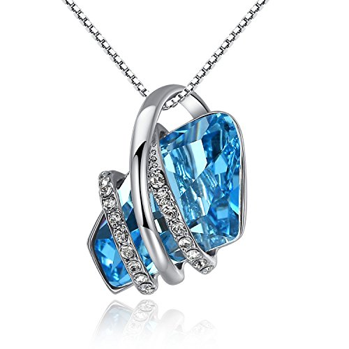 """Leafael """"Wish Stone"""" Silver-tone Blue Pendant Necklace Made with Crystals from Swarovski, 20"""""""