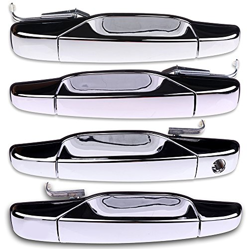 ECCPP Chrome Door Handles Exterior Outside Outer Front Rear Driver Passenger Side Replacement for 2007-2013 Chevy GMC Cadillac(Pack of -