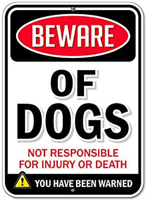 "Bigtime Designs Aluminum Beware of Dogs Sign, DibondTM Metal 1/8"" Thick for Indoor / Outdoor"
