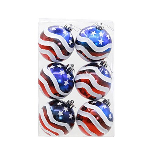 (BinaryABC Patriotic Ball Ornaments,Christmas Tree Decorative Ball,Christmas Tree Ornaments,6pcs)