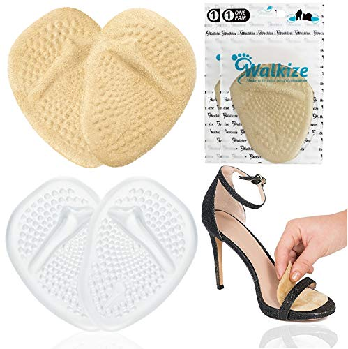 Metatarsal Pads | Metatarsal Pads for Women | Ball of Foot Cushions (2 Pairs Foot Pads) All Day Pain Relief and Comfort One Size Fits Shoe Inserts for Women (Clear & Beige)