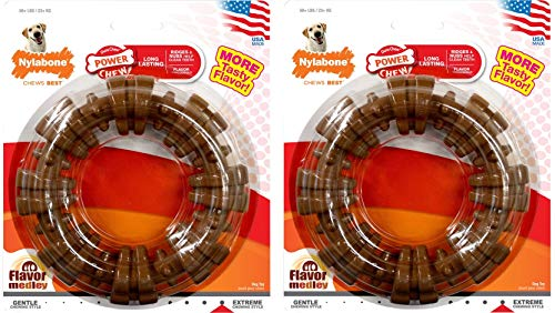 Chew Ring Dog (Nylabone Dura Chew Plus Textured Ring Dog Chew (Large - Flavor Medley - Pack of 2))
