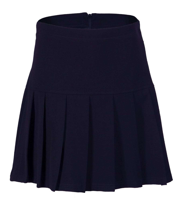 Girls Ladies Box Pleated School Skirt Black Grey Navy Adult and ...