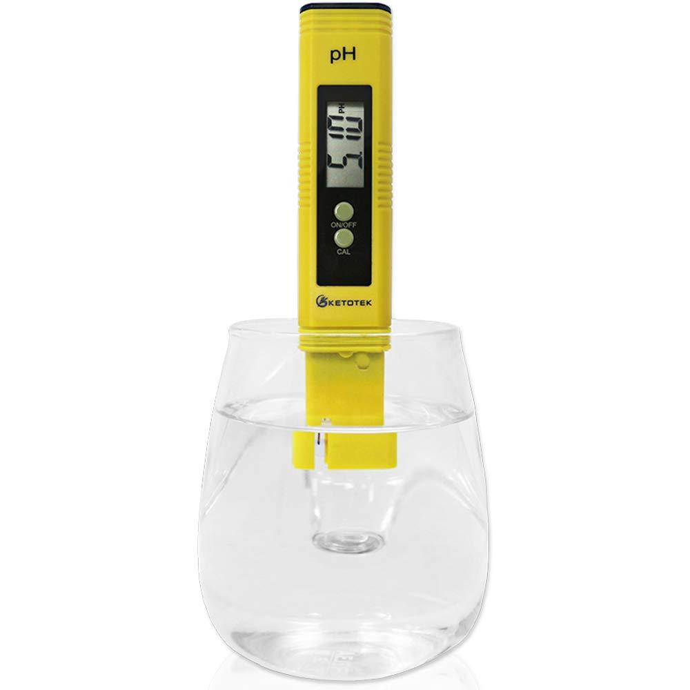 KETOTEK Digital PH Meter, PH Meter with ATC, Water PH Test Meter with 0.00-16.00PH Measure Range for Drinking Water, Hydroponics, Aquariums, Swimming Pools. High Accuracy 0.01 PH Pen Tester [Updated]