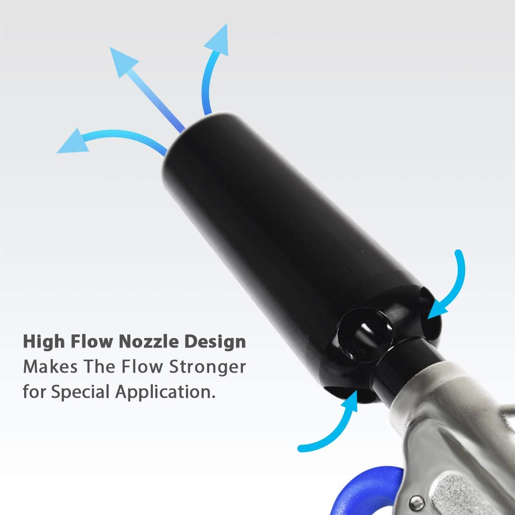 FIRSTINFO Pistola ad aria regolabile ad alto flusso con ugello ad alto flusso e scudo protettivo