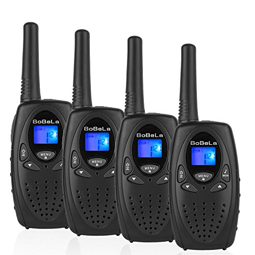 Bobela M880 Easy to use Two Way Radio Transceiver Electronic Toy Walkie Talkies and Festival, Christmas and Halloween Gift for Kids to Hiking, Biking and Other Outdoor Activities(Black, 2 Pairs)