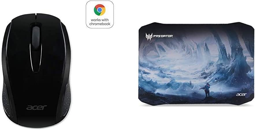 Acer Wireless Black Mouse M501 - Certified by Works with Chromebook & Acer Predator Ice Tunnel Mousepad