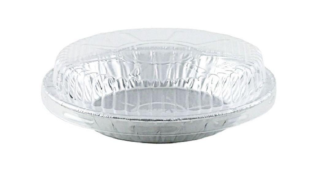 6'' Aluminum Foil Pie Pan 15/16'' Deep w/Clear Dome Lids Disposable Tin Plates