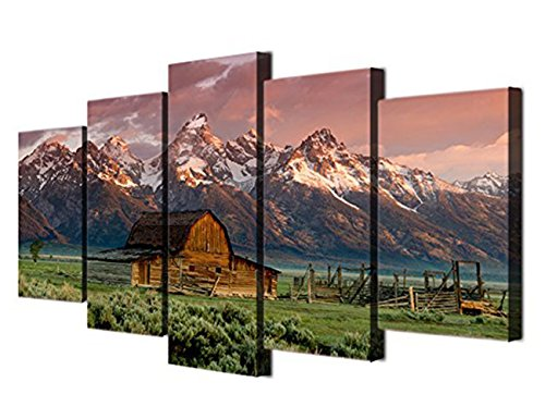 Teton Pines Bedroom - Wall Art A barn in Grand Teton National Park Home Decor Barn Rocky Mountains Painting 5 Pieces TetonBarn Wyoming Pictures Canvas Artwork Framed Posters Gallery-wrapped Stretched-60''Wx32''H