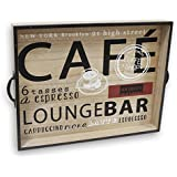 """Wooden Coffee Serving Tray - Large Modern Food Carrying Tray for Serving Food, Coffee - 17.5"""""""