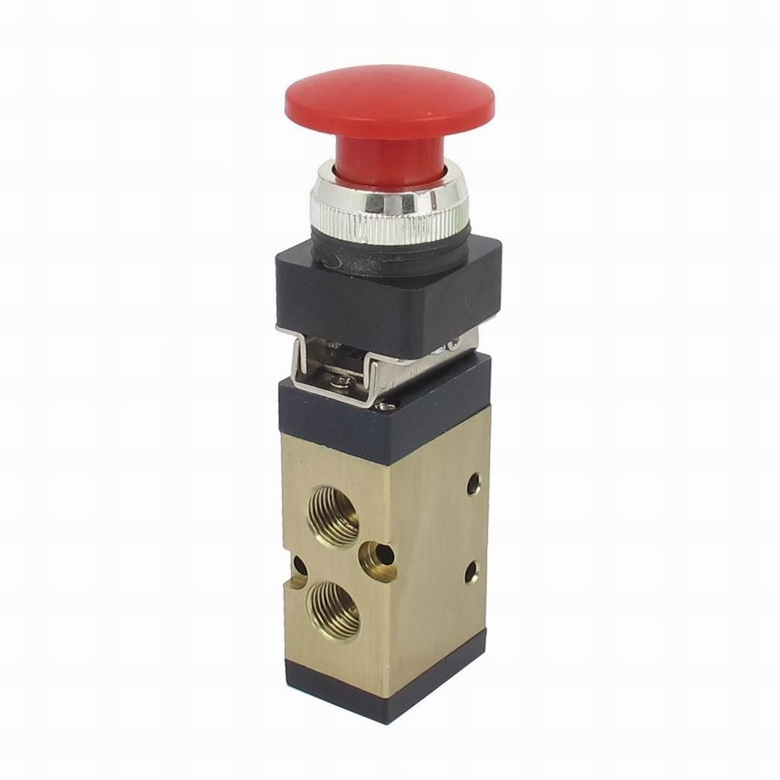 Ucland MSV-86522PB 1/4'' PT 2/5 Way Momentary Red Mushroom Button Air Mechanical Valve by Ucland