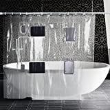Asnlove Clear Shower Curtain Liner with 8 Pockets for All Touchscreen Devices (Phones and Tablets)-Enjoy Netflix, YouTube, Music, Games, Podcasts in the Shower